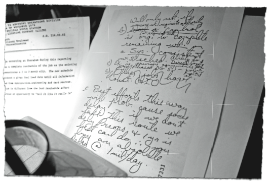 The Notebook: handwritten log kept by a senior engineer at the nuclear power plant