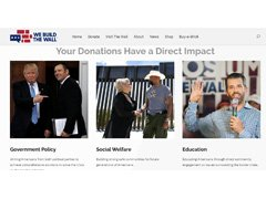 Screenshot of the We Build the Wall website featuring an image of Kobach with Trump.