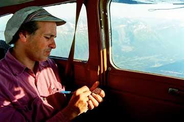 Investigator Palast flies over Exxon Valdez spill site.